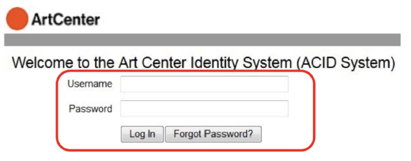 screen grab of inside artcenter login  screen