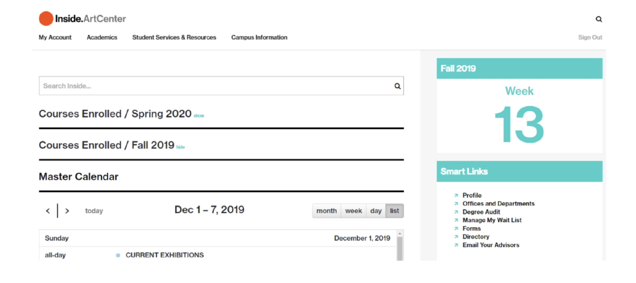 screen grab of student dashboard on inside