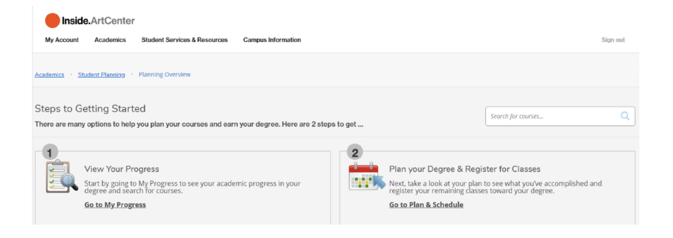 screen grab student dashboard menu