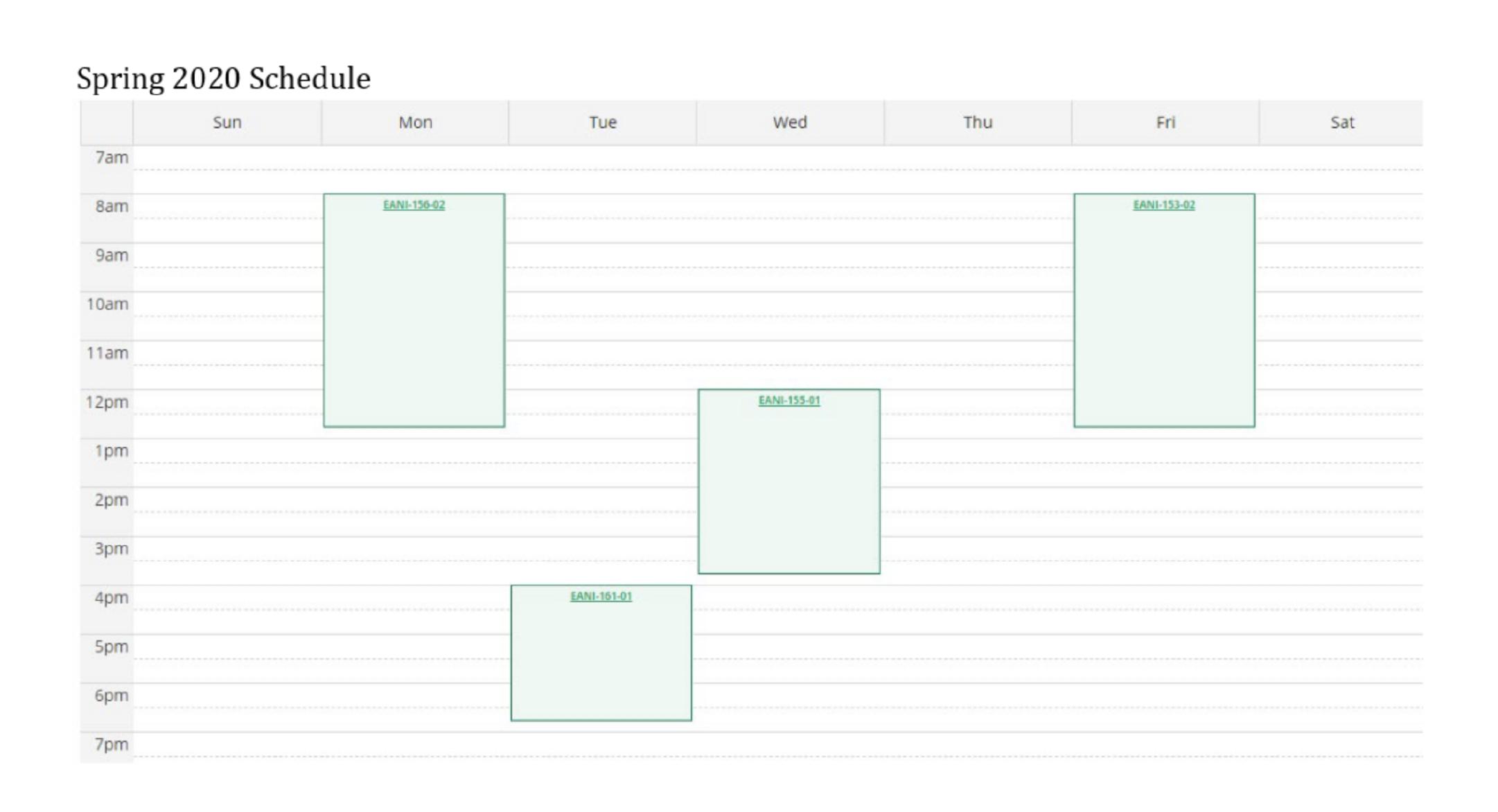 screen grab student schedule