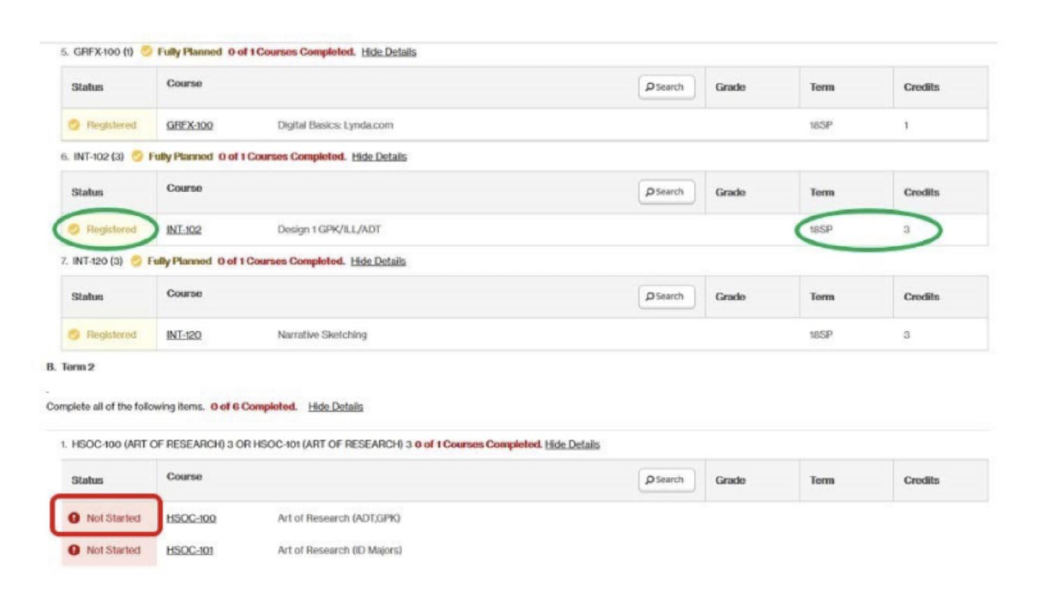 screen grab degree audit